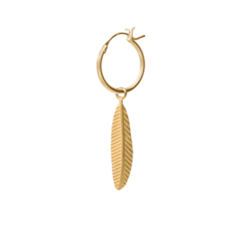 BS - Feather Silver Gold Plated Hoop Earring (ES1020)