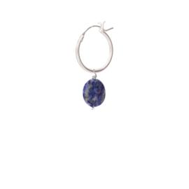 BS - Lapis Lazuli Silver Hoop Earring (ES1060)