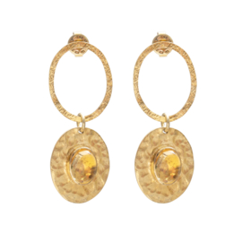 BS - Thankful Citrine Gold Plated Earrings (AW25627)