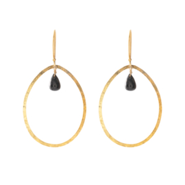 BS - Ellipse Black Onyx Gold Plated Earrings (AW24390)