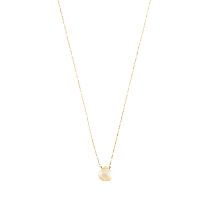 BS - Divine Citrine Silver Gold Plated Necklace (AW25133)