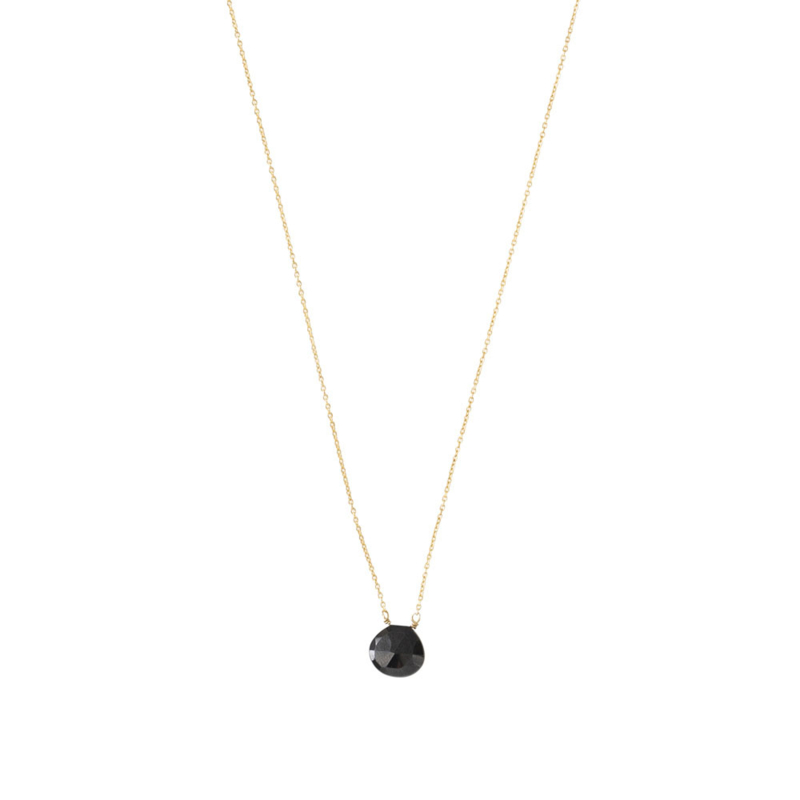 BS - Divine Black Onyx Silver Gold Plated Necklace (AW24333)