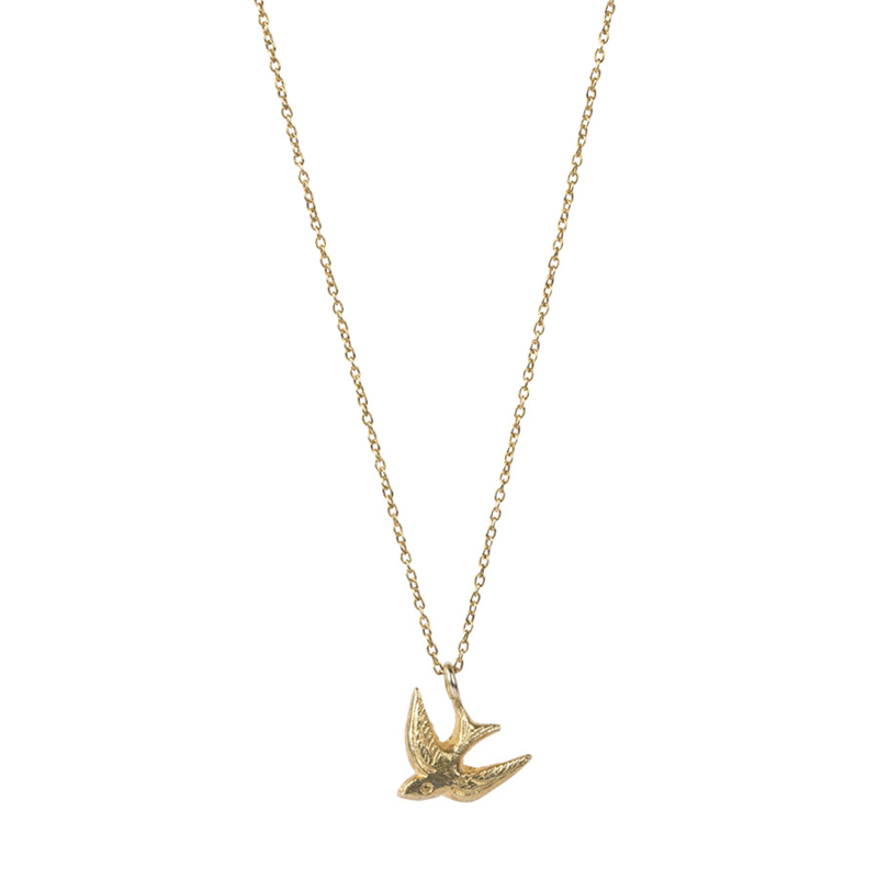 BS - Delicate Swallow Silver Gold Plated Necklace (AW22342)