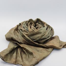 Zijden sjaal bruin/groen 45x180