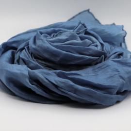 Zijden sjaal blauw 45x180