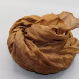 Zijden sjaal  lichtbruin  45x180