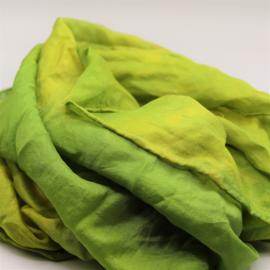 Zijden sjaal groen/geel gewolkt  90x90