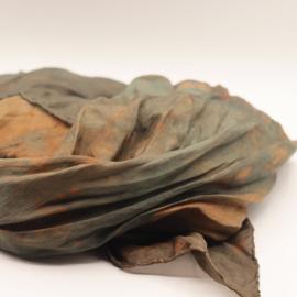 Zijden sjaal bruin/groen/rood 90x90 B