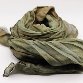 Zijden sjaal bruin/groen  90x90 B