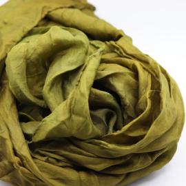 Zijden sjaal groenbruin 90x90
