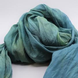 Zijden sjaal blauwgroen  90x200