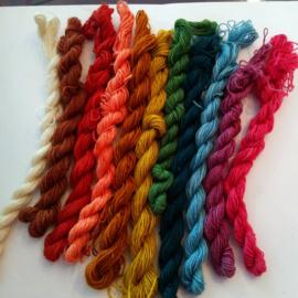 Weefgaren  regenboog 10 kleuren plus wit
