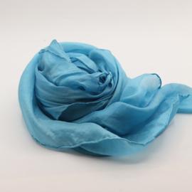 Zijden sjaal lichtblauw 90x90