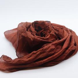 Zijden sjaal  roodbruin 90x90