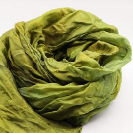 Zijden sjaal licht olijfgroen  45x180