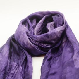 Zijden sjaal paars gewolkt 45x180