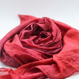 Zijden sjaal roze met paars 90x200