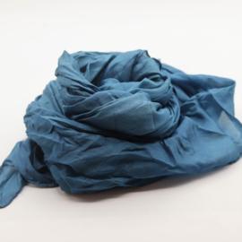 Zijden sjaal petrol  blauw 90x90
