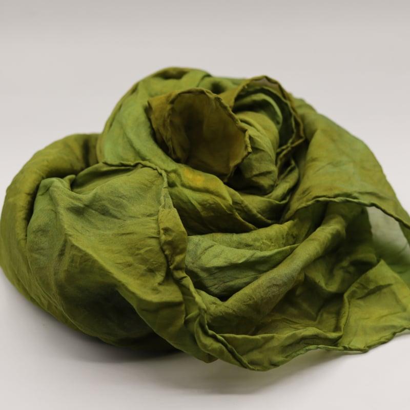 Zijden sjaal licht groen/olijfgroen 90x90