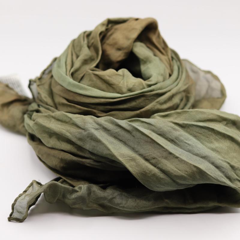 Zijden sjaal bruin/groen  90x90