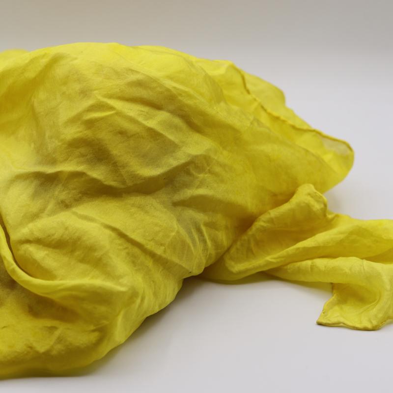 Zijden sjaal geel 90x90