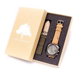 Horloge 'Duo Olijf'