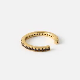 Orelia fine jet pave ear cuff gold