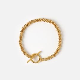 Orelia chunky rope T-bar bracelet gold