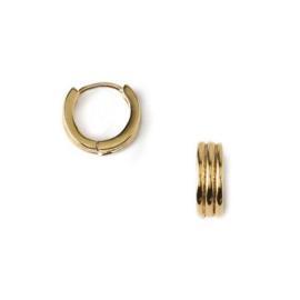 Orelia linear huggie hoops gold