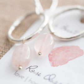 A beautiful story oorbel Rose quartz silver