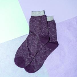 Pinned by K socks purple check