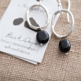 A beautiful story oorbel Black onyx silver