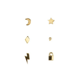 Orelia mixed charm stud ear party gold