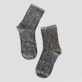 Pinned by K socks glitter leopard grey