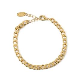 Orelia flat curb link bracelet gold