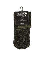 Pinned by K socks leopard green