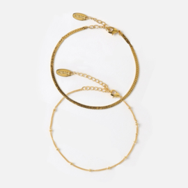 Orelia satellite & flat curb bracelet duo