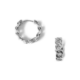 Orelia chain huggie hoop earrings silver
