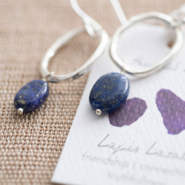 A beautiful story oorbel Lapis lazuli silver
