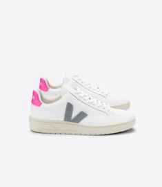 Veja V-12 leather extra white oxford grey sari