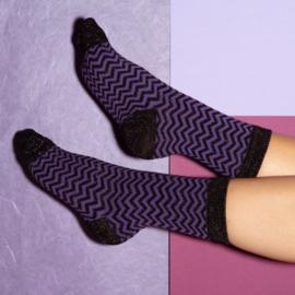 Pinned by K purple black glitter stripes