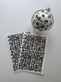 Kerstbal stickers panter