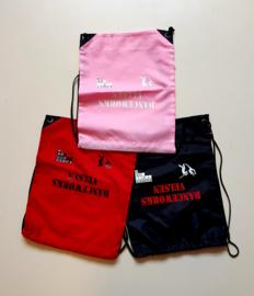 Nylon tas zwart/rood/roze