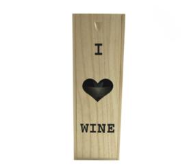 Houten wijnkist - I love wine