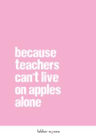 Teachers can't live on apples alone - Onderwijs