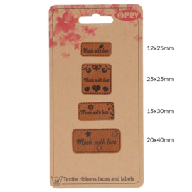 Opry Skai-leren labels made with love - 4st