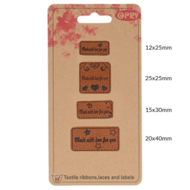 Opry Skai-leren labels made with love for you - 4st