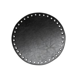 GoHandMade Tas/mand bodem - black, PU- leather - rond D17 cm