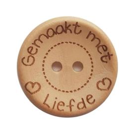 Durable houten knopen knoop 'Gemaakt Met Liefde' 25mm 3stuks