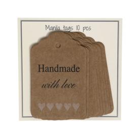 GoHandMade Manila tags - 45x70 mm - set/10 - 'Handmade with love'